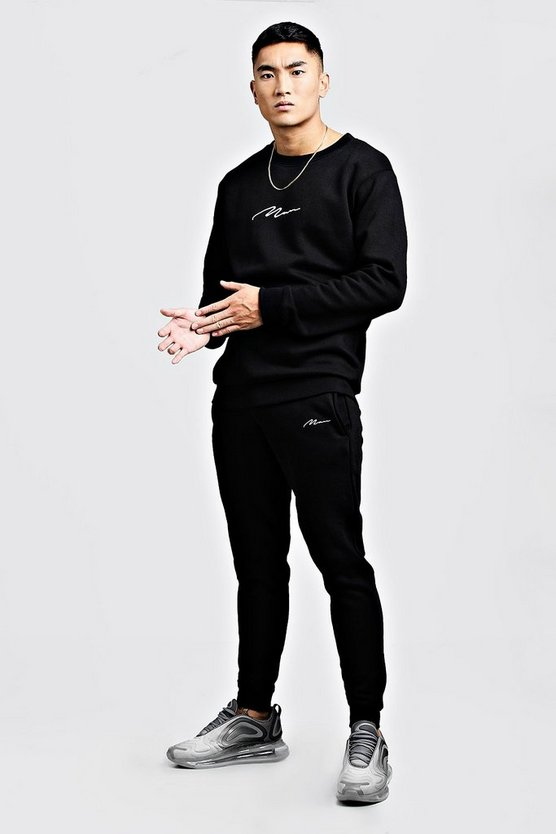 Black MAN Signature Embroidered Sweater Tracksuit