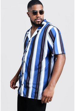 Mens Blue Big And Tall Short Sleeve Revere Jersey Shirt