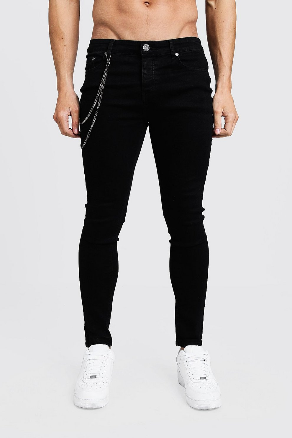 edfd70cba9 Spray On Skinny Jeans With Chain Detail