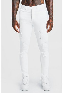 Mens White Super Skinny Jeans With All Over Distressing