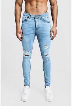 Spray On Skinny Jeans mit Knien in Destroyed-Optik, Vintage-waschung, Herren