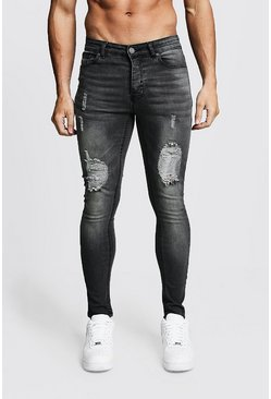 Spray On Skinny Jeans mit Knien in Destroyed-Optik, Anthrazit, Herren