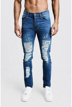 Mens Blue Skinny Fit Rigid Heavily Distressed Jeans
