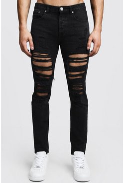 Steife Skinny Fit Jeans in extremer Destroyed-Optik, Verwaschenes schwarz, Herren