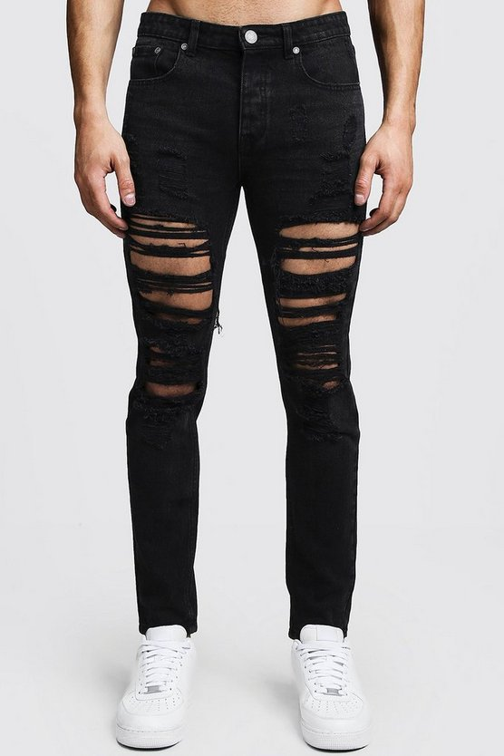Skinny Fit Rigid Heavily Distressed Jeans