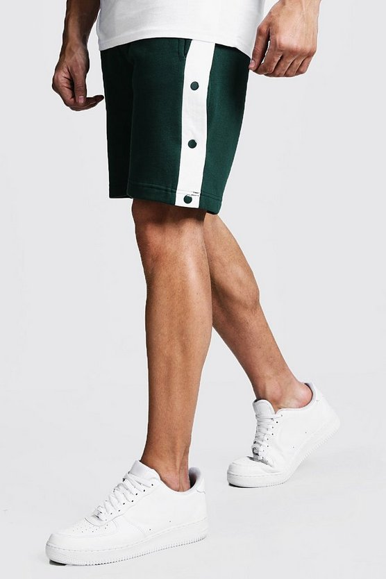 Mens Green Jersey Shorts With Side Poppers