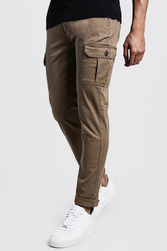 Mens Camel Slim Fit Stretch Cargo Pants
