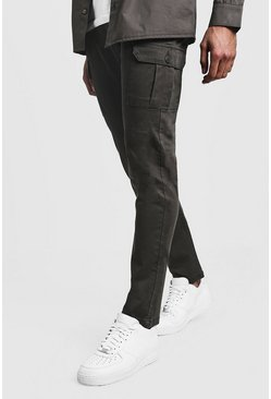 Mens Khaki Slim Fit Stretch Cargo Pants