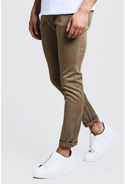 Mens Camel Slim Fit Stretch Chino Pants