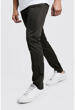 Mens Khaki Slim Fit Stretch Chino Pants