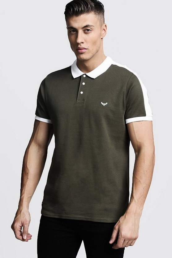 Mens Khaki Muscle Fit Polo With Shoulder Panel