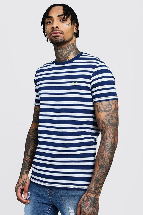 Stripe T-Shirt With Contrast Embroidery