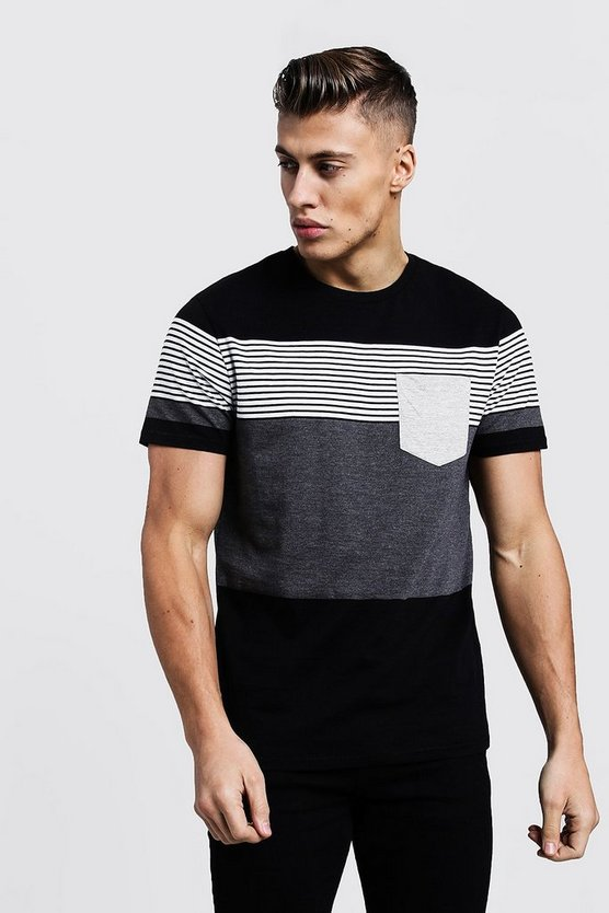 Mens Black Mixed Stripe T-Shirt With Contrast Pocket