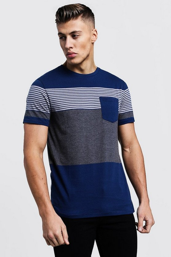 Mixed Stripe T-Shirt With Contrast Pocket