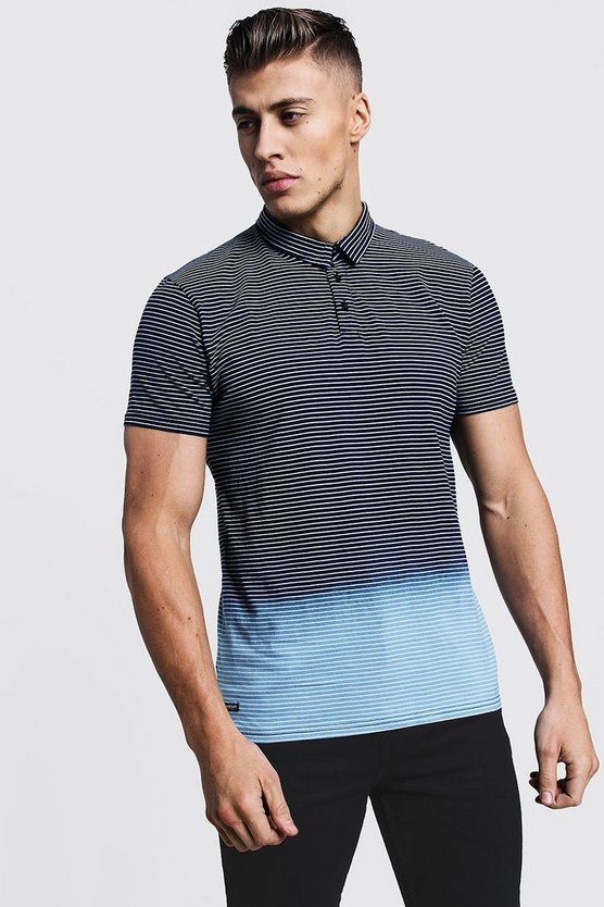 Blue Ombre Stripe Jersey Polo