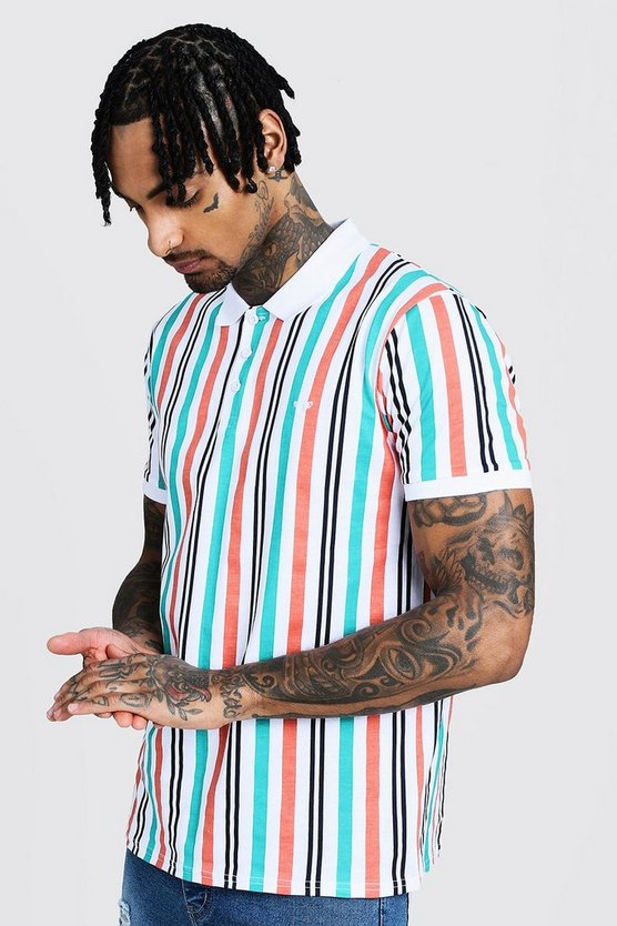 Printed Vertical Stripe Polo