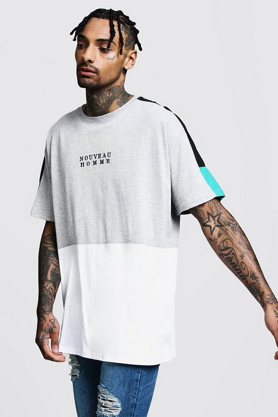 Mens Grey Oversized Tee With Panel And Embroidered Slogan