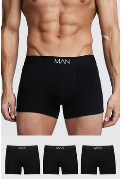 Black 3 Pack MAN Trunks