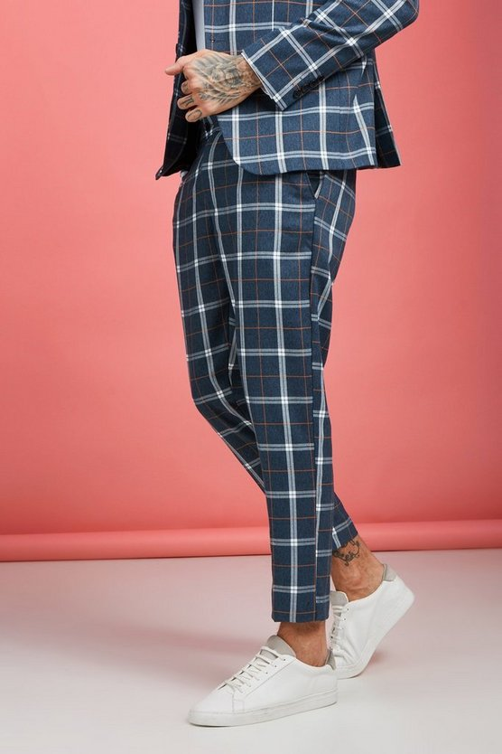 Mens Blue Bold Check Skinny Fit Suit Pants