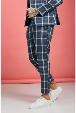 Mens Blue Bold Check Skinny Fit Suit Trouser