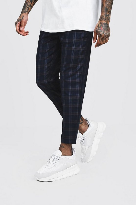 Mens Navy Bold Check Smart Jogger Trouser