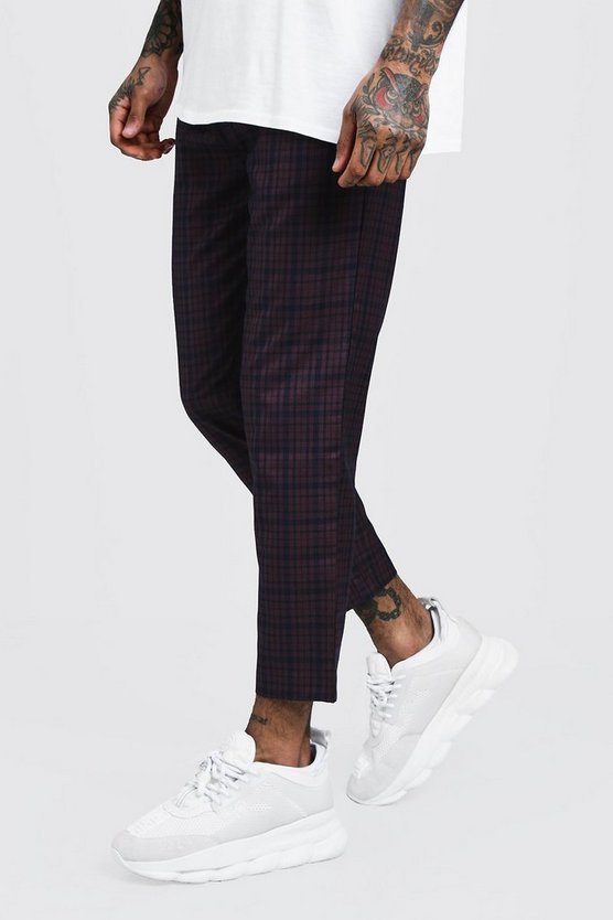 Plum Check Smart Jogger Trousers