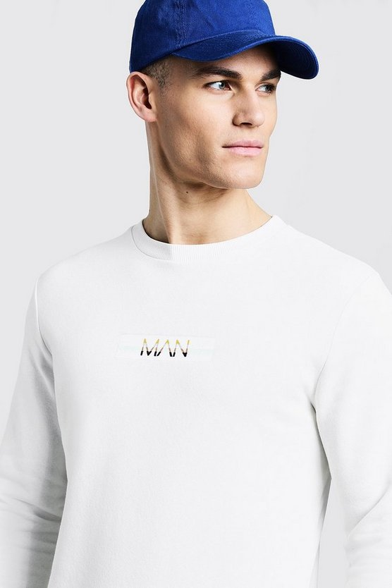 Fleece Sweater With Contrast Marl Embroidered Box