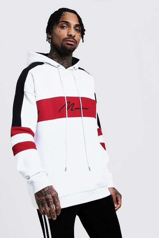 White Drop Shoulder Colour Block MAN Hoodie