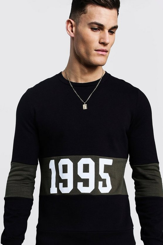 "Black """"1995"""" Slogan Colour Block Sweatshirt"