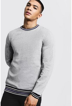 Mens Grey Sports Rib Detail Sweatshirt