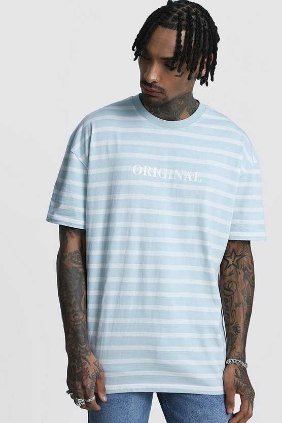 Mens Blue Oversized Stripe T-Shirt With Reflective Slogan