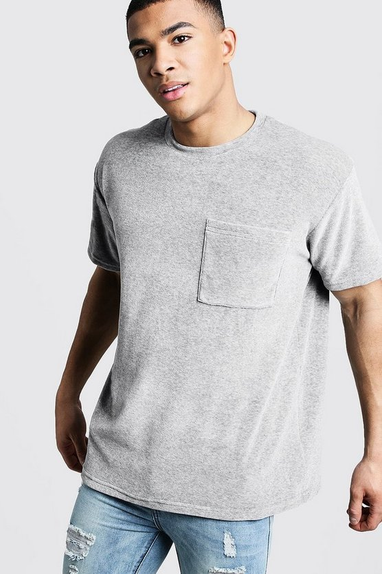 Mens Grey Loose Fit Velour Tee With Pocket Detail