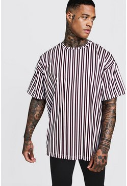 Mens White Oversized Vertical Stripe T-Shirt