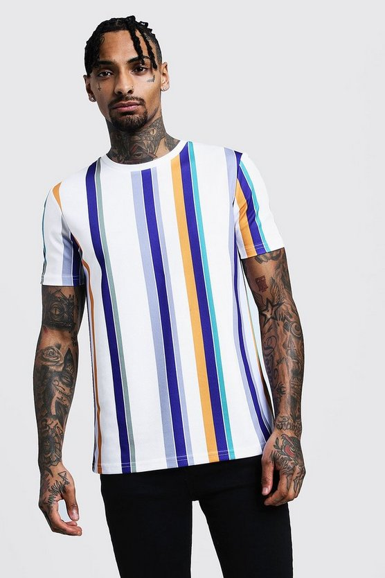 Mens White Stripe Airtex Mesh Crew Neck T-Shirt