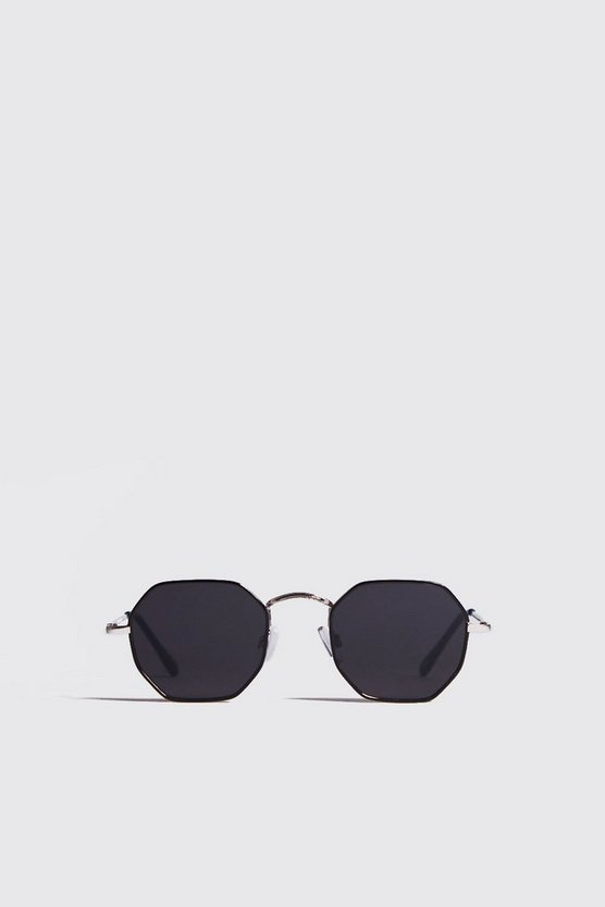 Black Tinted Hexagon Sunglasses