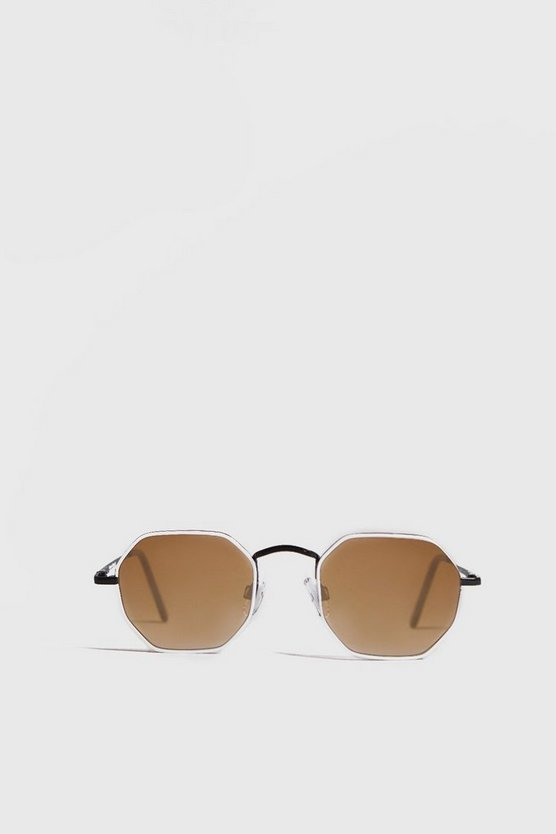 Orange Tinted Hexagon Sunglasses