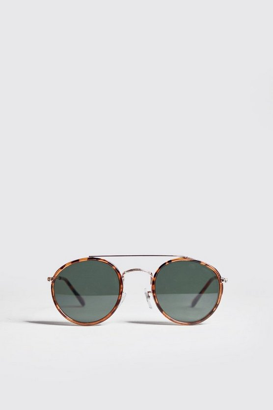 Brown Round Top Bar Sunglasses