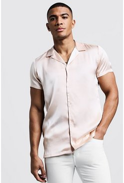 Mens Pale pink Short Sleeve Revere Satin Shirt