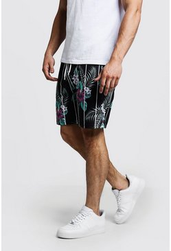 Mens Black Tropical Stripe Print Short