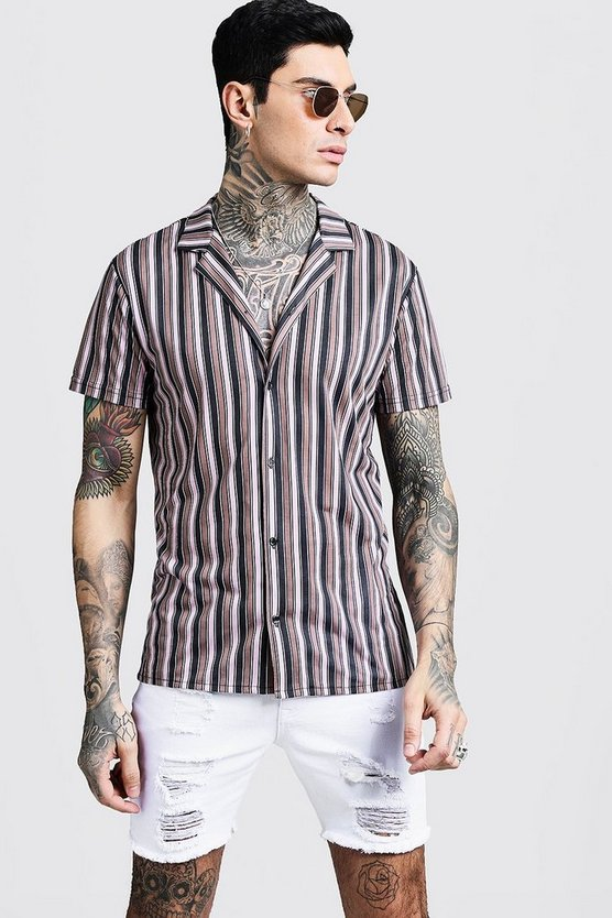 Vertical Stripe Short Sleeve Revere Jersey Shirt