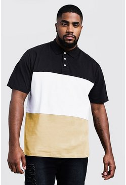 Big and Tall Polo-Shirt im Farbblock-Design, Senfgelb, Herren
