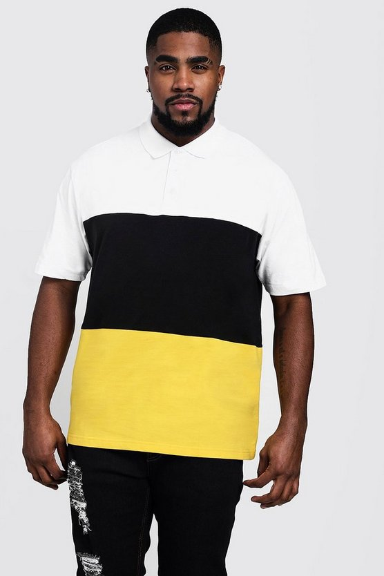 Black Big And Tall Colour Block Polo Shirt