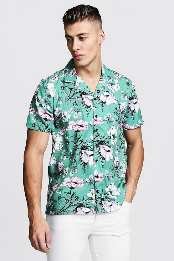 Mens Green Floral Print Short Sleeve Revere Shirt