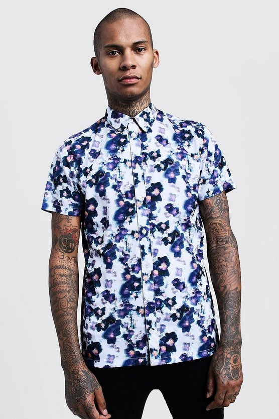 White Painted Floral Print Short Sleeve Shirt