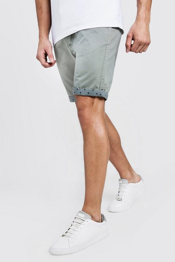 Sage Slim Fit Chino Shorts With Printed Turn Ups
