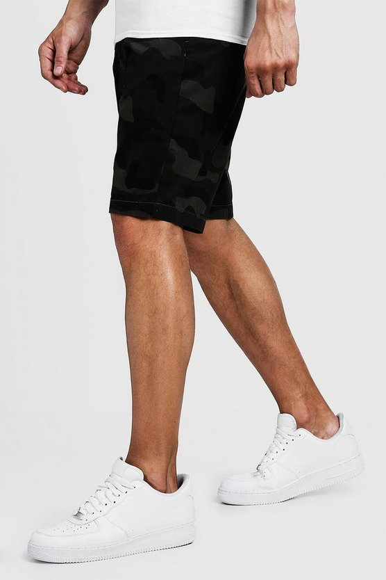 Mens Khaki Slim Fit Cotton Camo Shorts