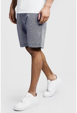 Mens Navy Slim Fit Cotton Chino Shorts In Stripe