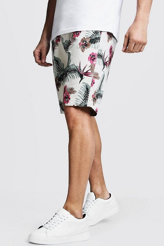 Slim Fit Floral Print Cotton Chino Shorts