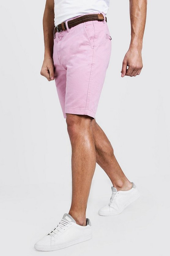 Pale pink Slim Fit Cotton Chino Shorts With Belt