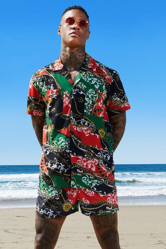Mens Red Chain Print Revere Relaxed Shirt